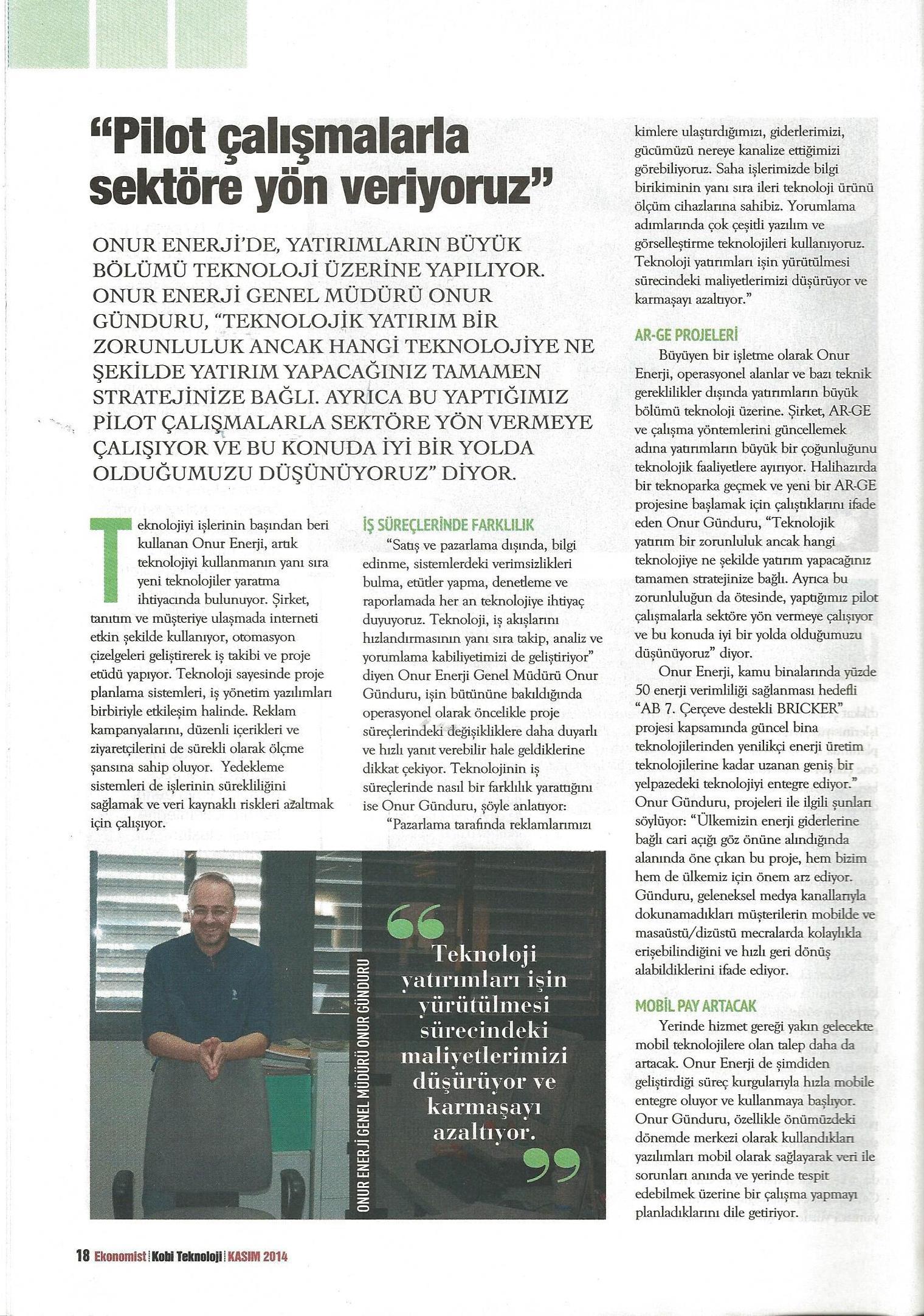 Onur Enerji Ekonomist Dergisinde